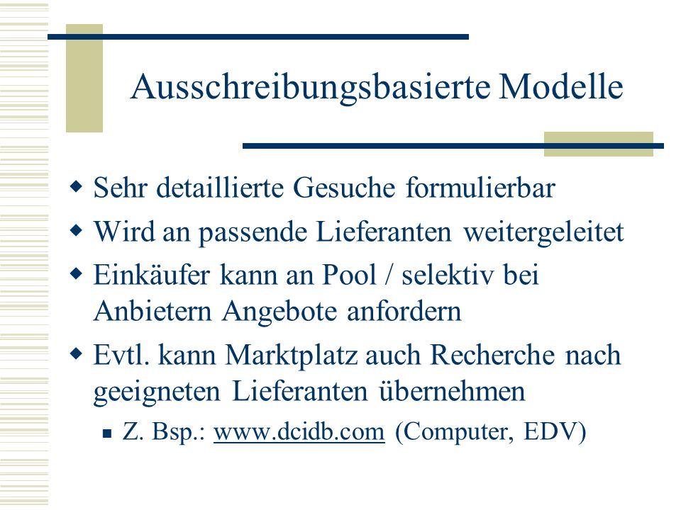 Ausschreibungsbasierte Modelle
