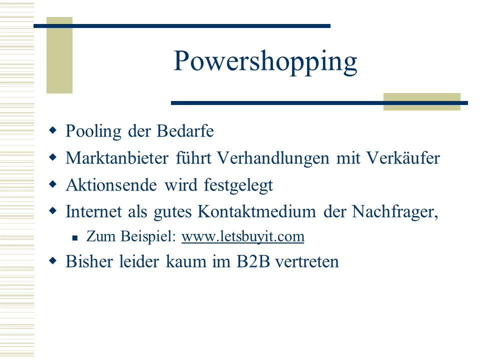 Powershopping Pooling der Bedarfe