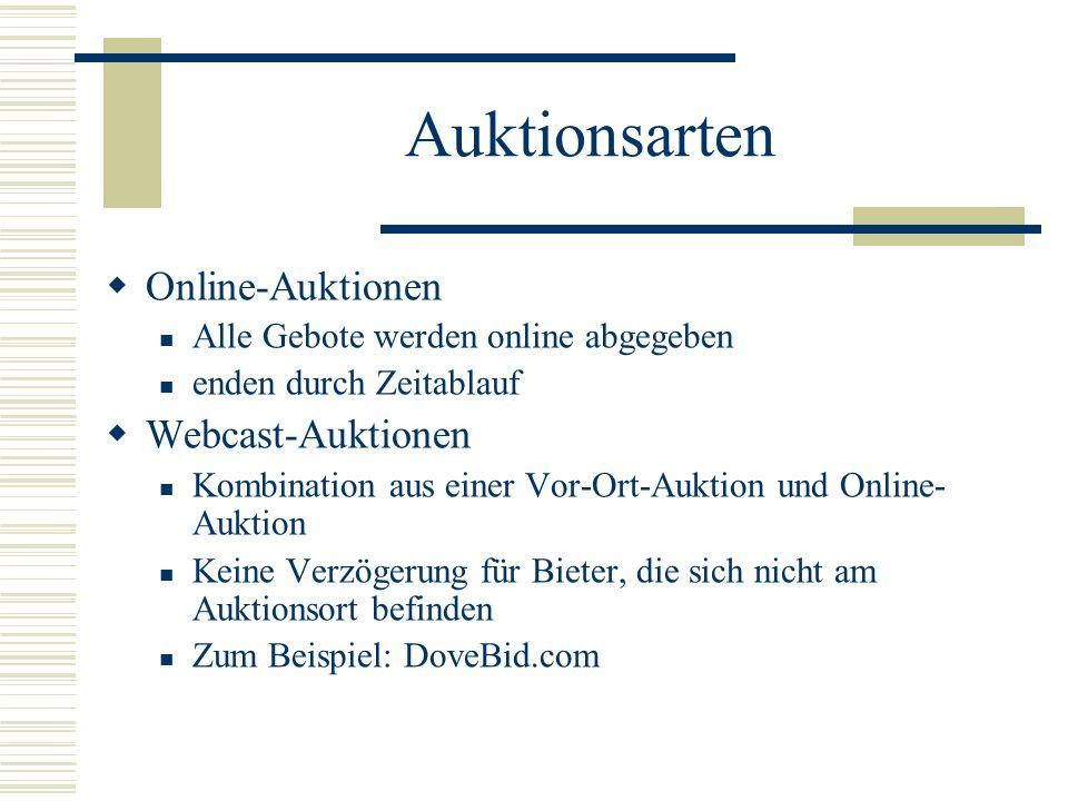 Auktionsarten Online-Auktionen Webcast-Auktionen