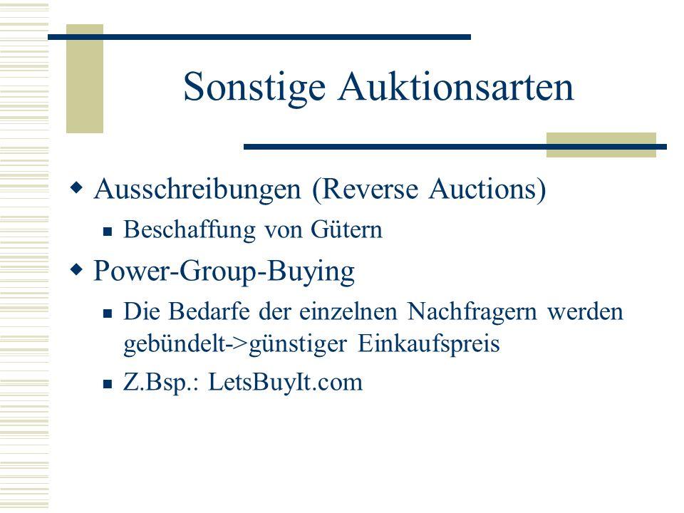 Sonstige Auktionsarten