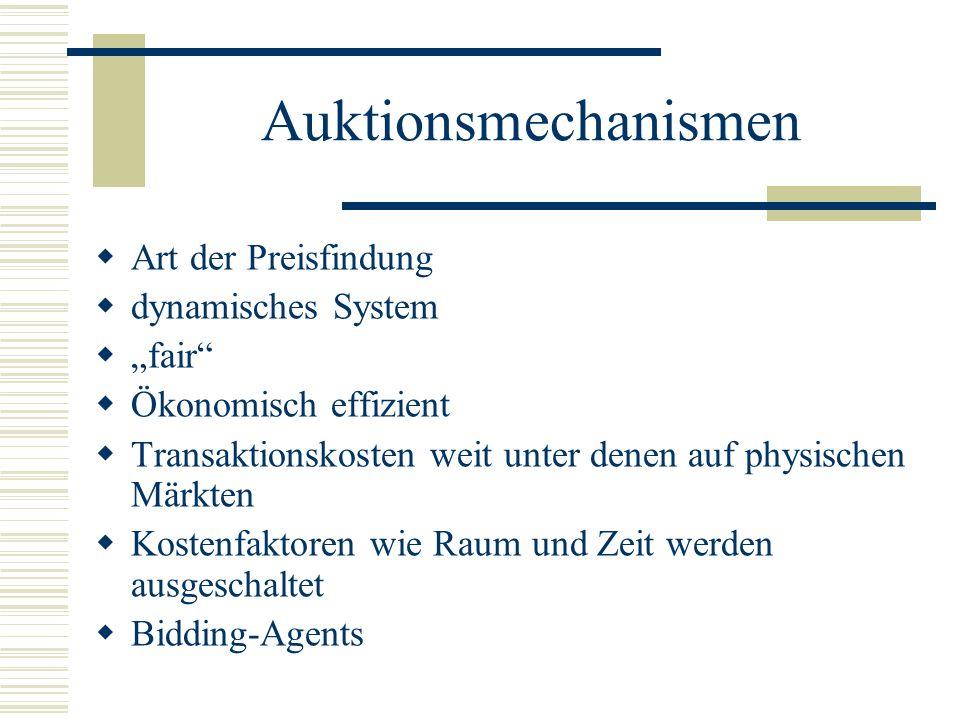 """Auktionsmechanismen Art der Preisfindung dynamisches System """"fair"""