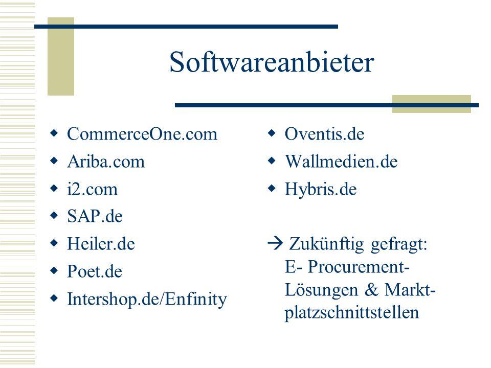 Softwareanbieter CommerceOne.com Ariba.com i2.com SAP.de Heiler.de