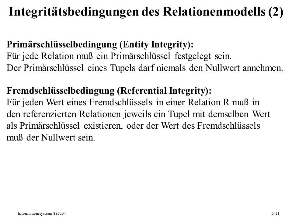 Integritätsbedingungen des Relationenmodells (2)