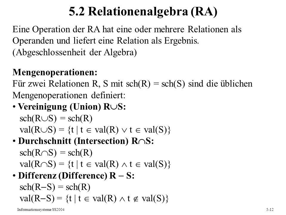 5.2 Relationenalgebra (RA)