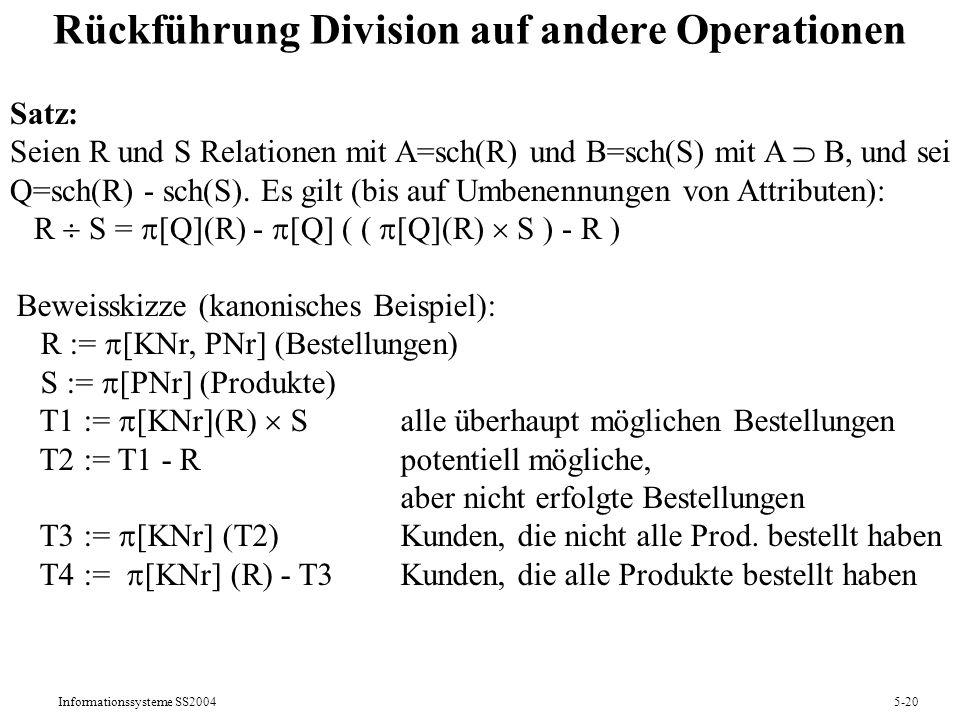 Rückführung Division auf andere Operationen