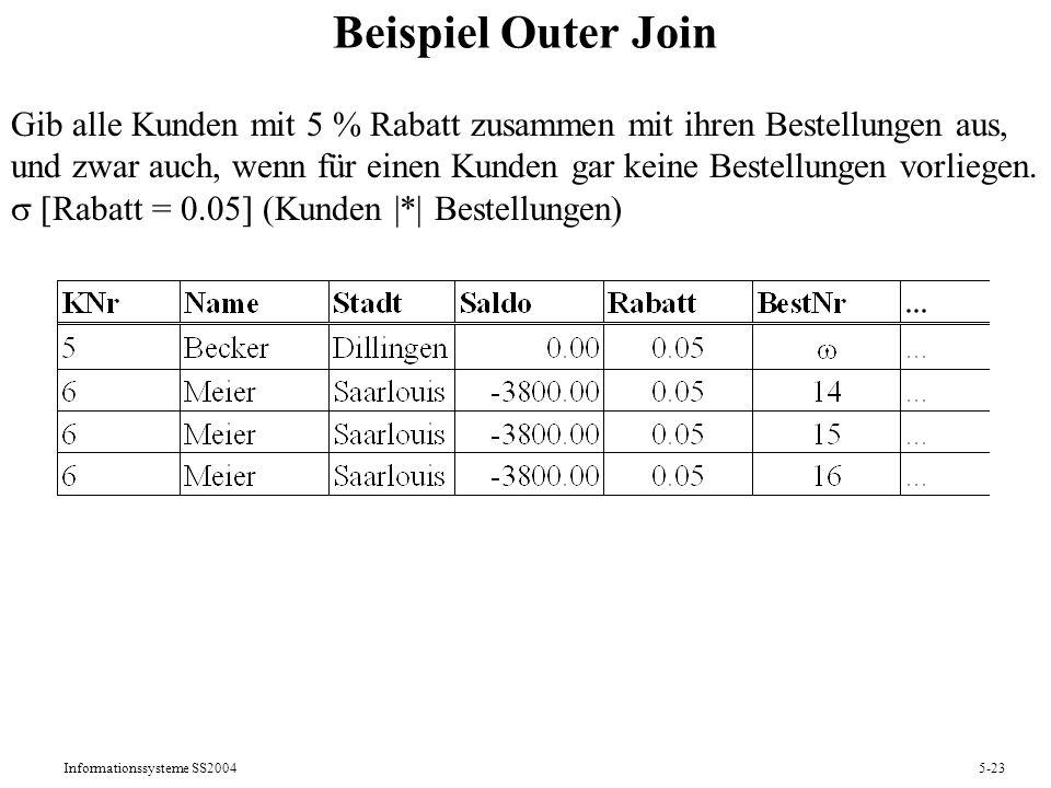 Beispiel Outer Join Gib alle Kunden mit 5 % Rabatt zusammen mit ihren Bestellungen aus,