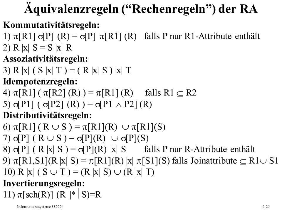 Äquivalenzregeln ( Rechenregeln ) der RA