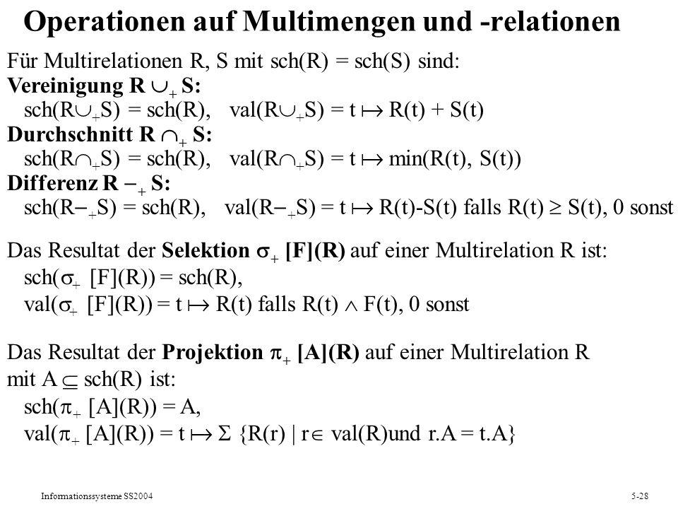 Operationen auf Multimengen und -relationen