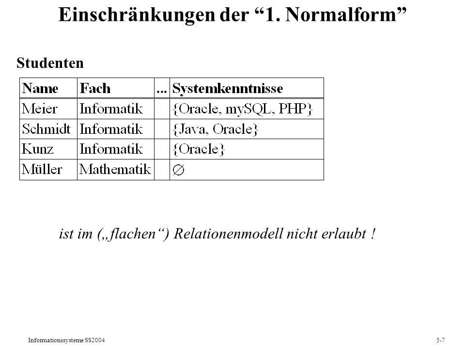 Einschränkungen der 1. Normalform