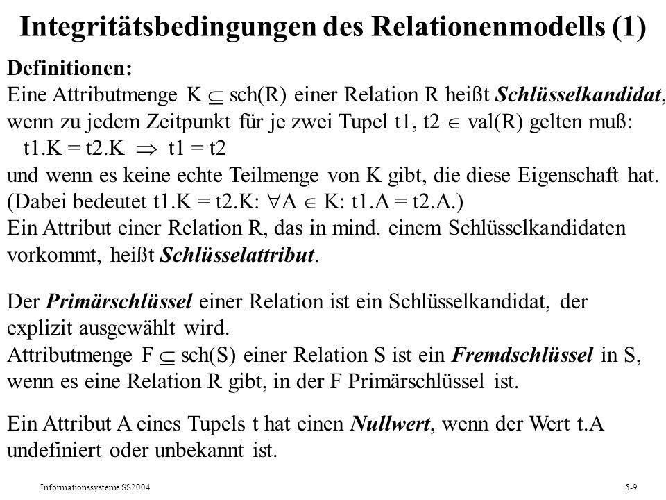 Integritätsbedingungen des Relationenmodells (1)