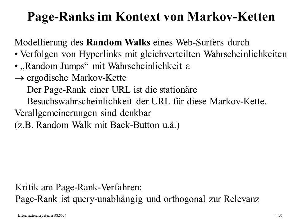 Page-Ranks im Kontext von Markov-Ketten