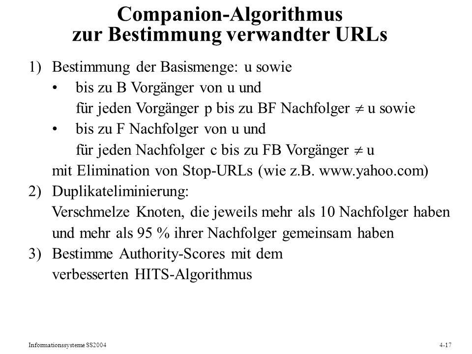 Companion-Algorithmus zur Bestimmung verwandter URLs