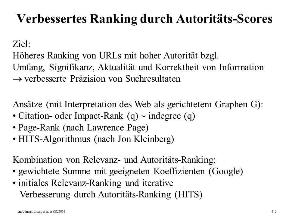 Verbessertes Ranking durch Autoritäts-Scores