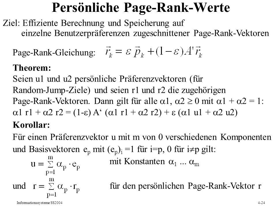Persönliche Page-Rank-Werte