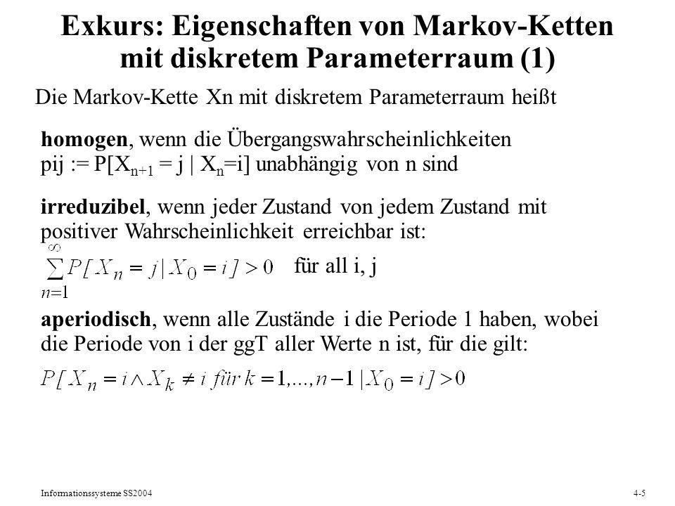 Exkurs: Eigenschaften von Markov-Ketten mit diskretem Parameterraum (1)