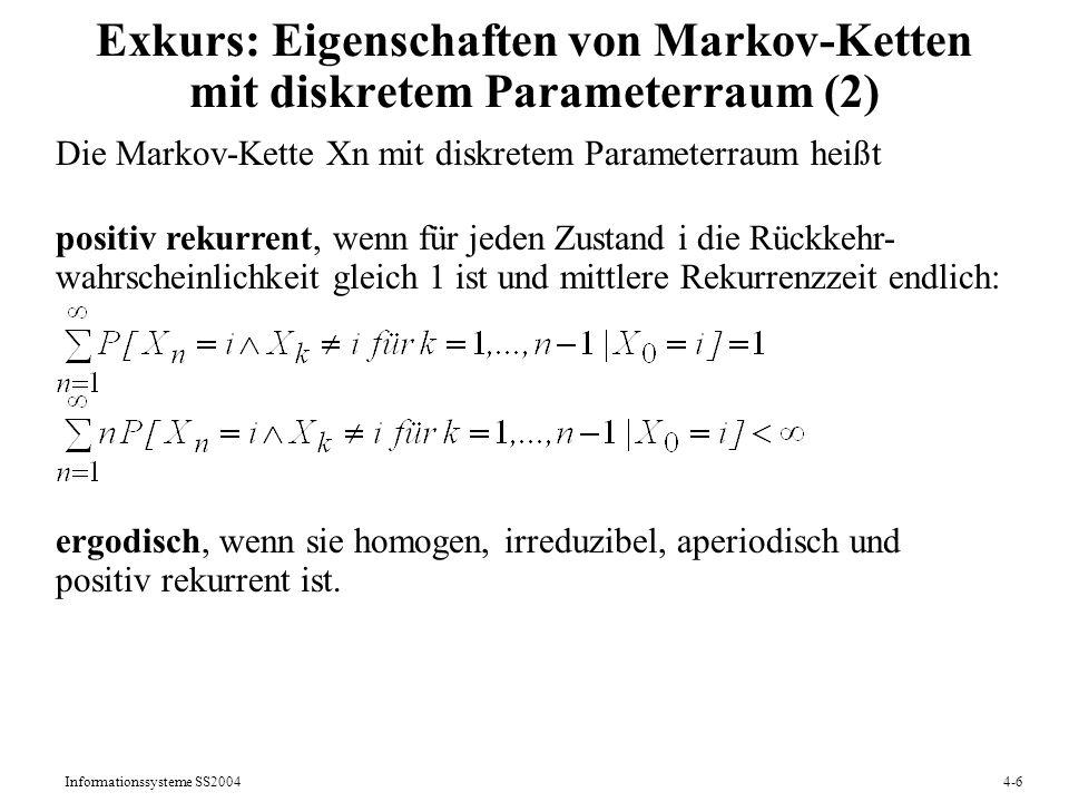 Exkurs: Eigenschaften von Markov-Ketten mit diskretem Parameterraum (2)