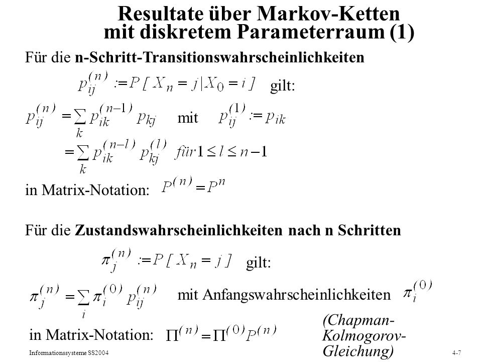 Resultate über Markov-Ketten mit diskretem Parameterraum (1)