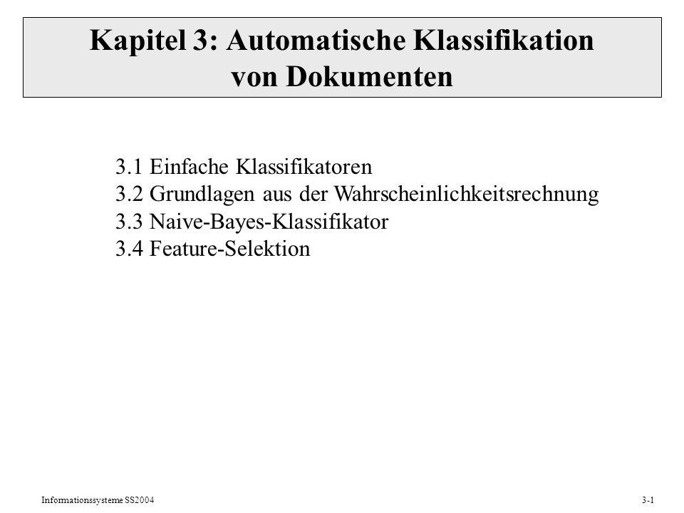 Kapitel 3: Automatische Klassifikation von Dokumenten