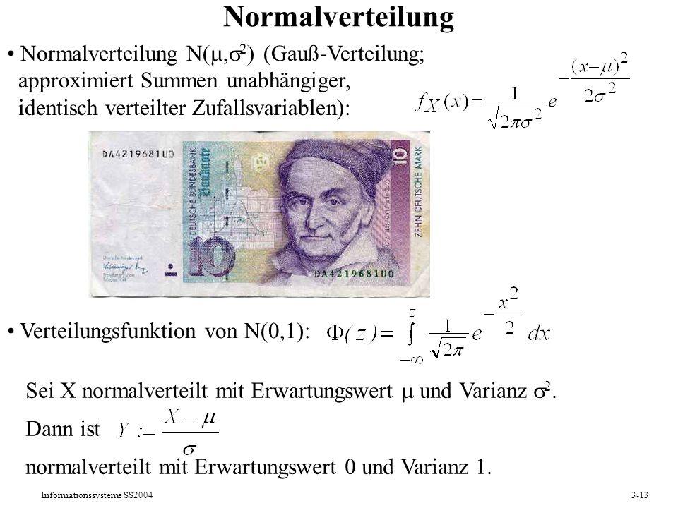 Normalverteilung Normalverteilung N(,2) (Gauß-Verteilung;