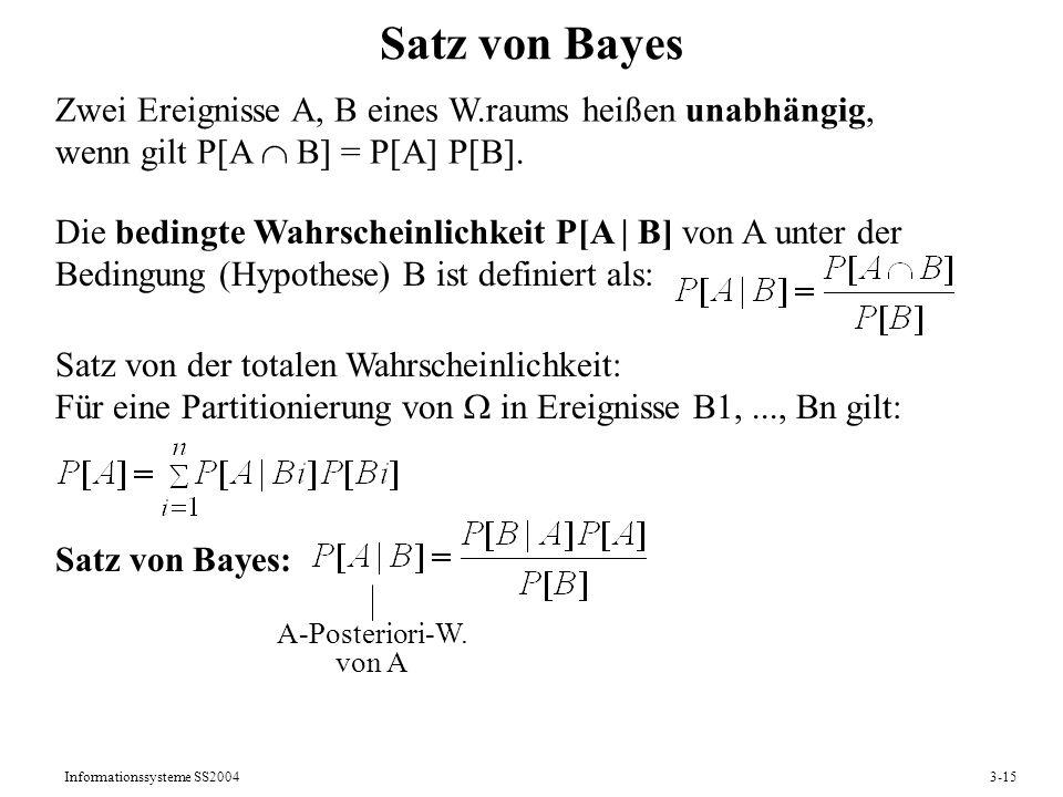 Satz von Bayes Zwei Ereignisse A, B eines W.raums heißen unabhängig,