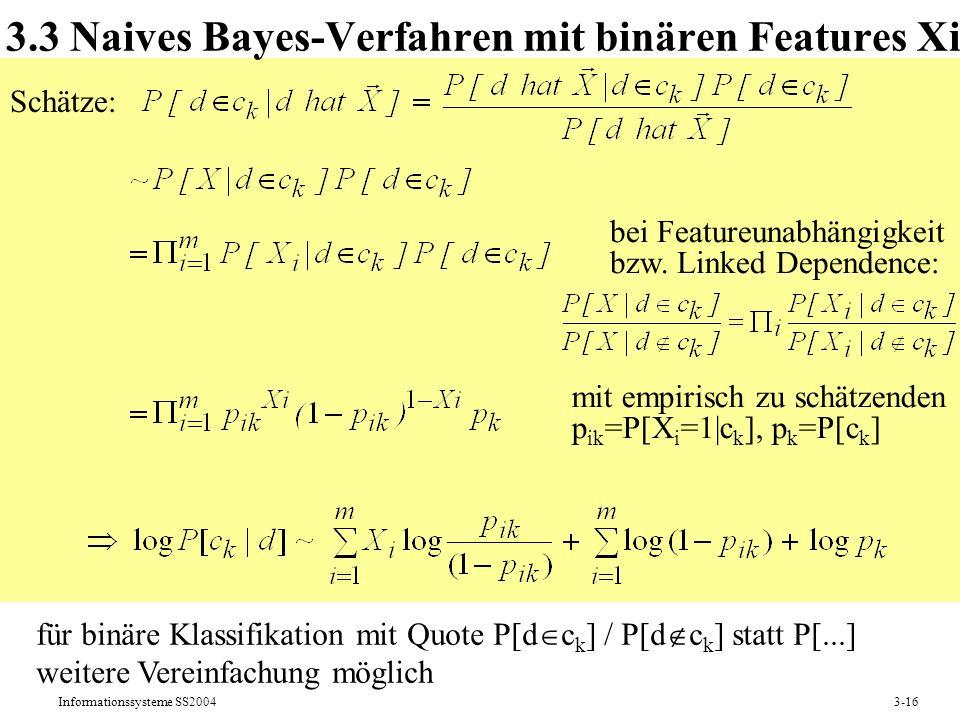 3.3 Naives Bayes-Verfahren mit binären Features Xi