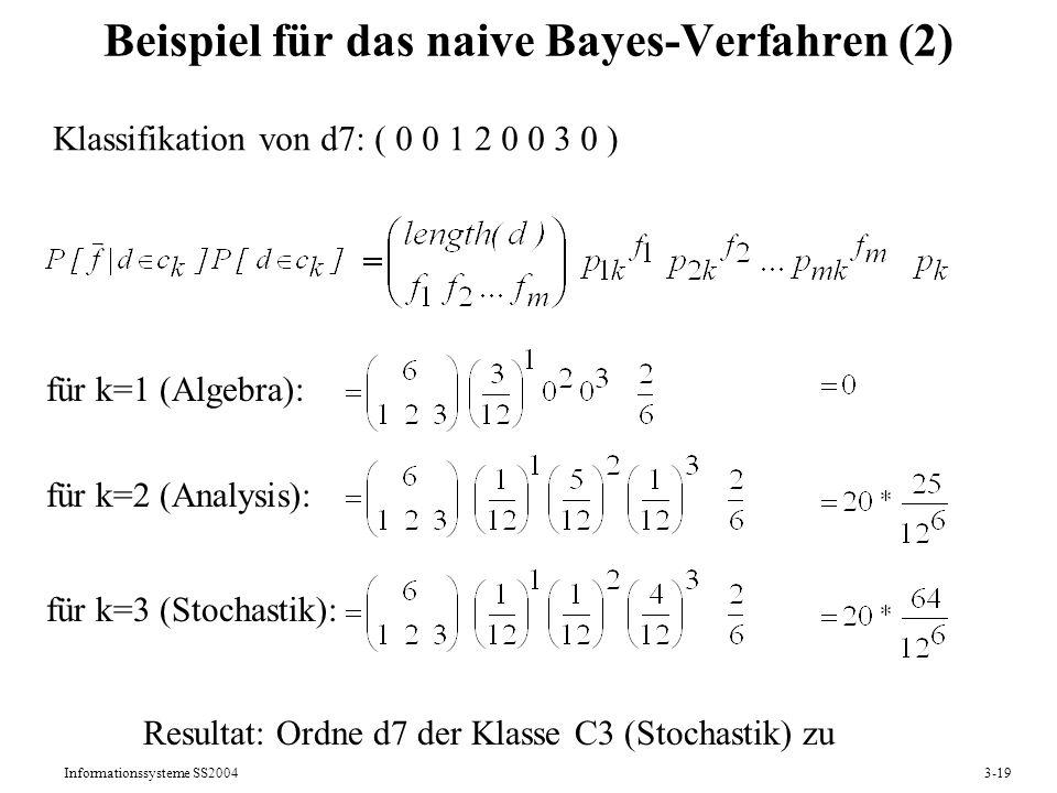 Beispiel für das naive Bayes-Verfahren (2)