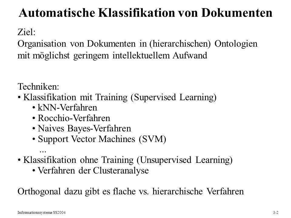 Automatische Klassifikation von Dokumenten