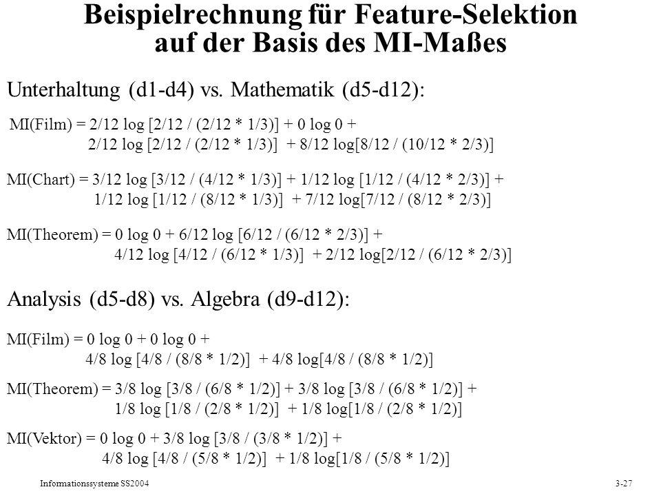 Beispielrechnung für Feature-Selektion auf der Basis des MI-Maßes