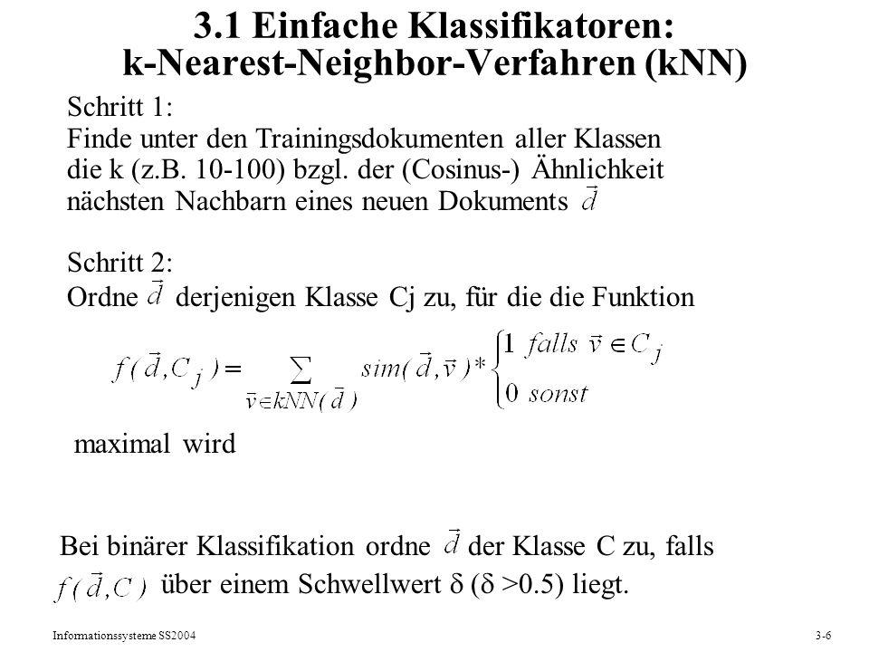 3.1 Einfache Klassifikatoren: k-Nearest-Neighbor-Verfahren (kNN)