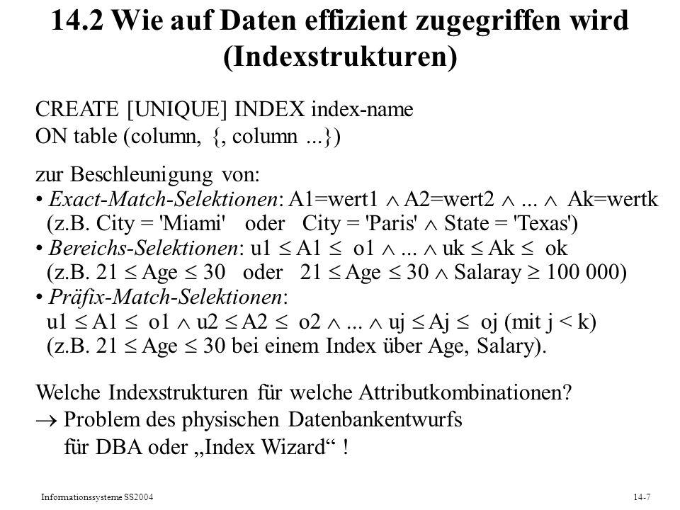 14.2 Wie auf Daten effizient zugegriffen wird (Indexstrukturen)