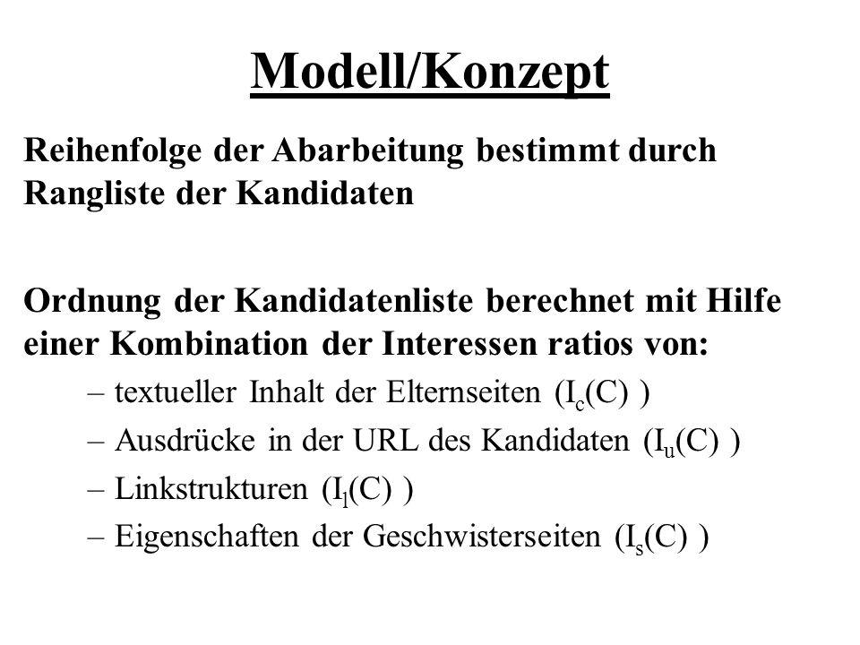 Modell/Konzept Reihenfolge der Abarbeitung bestimmt durch Rangliste der Kandidaten.