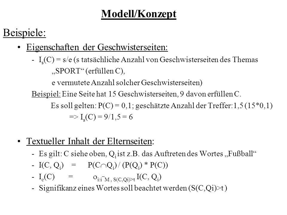 Modell/Konzept Beispiele: Eigenschaften der Geschwisterseiten: