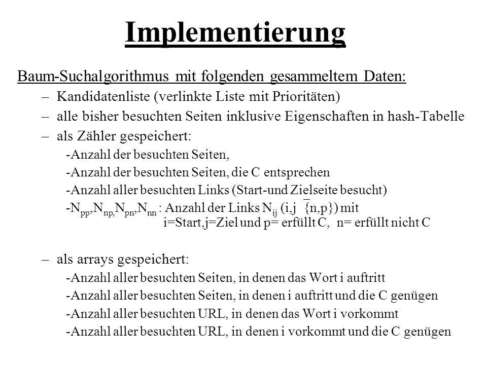 Implementierung Baum-Suchalgorithmus mit folgenden gesammeltem Daten: