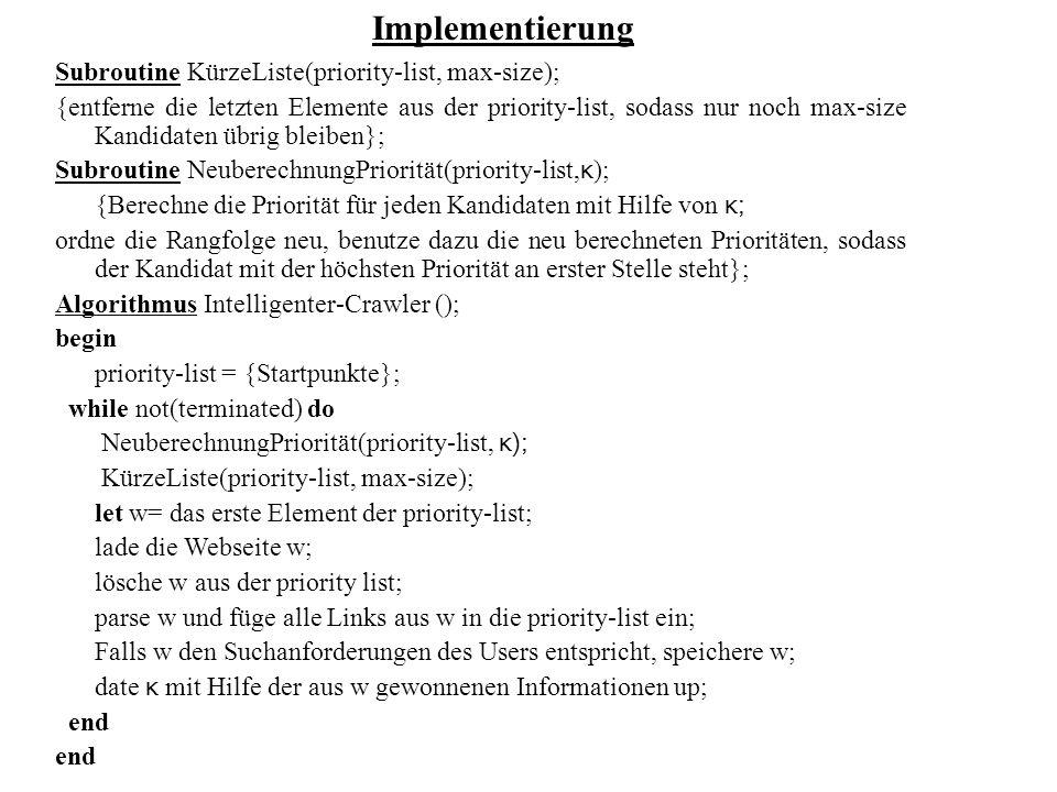 Implementierung Subroutine KürzeListe(priority-list, max-size);