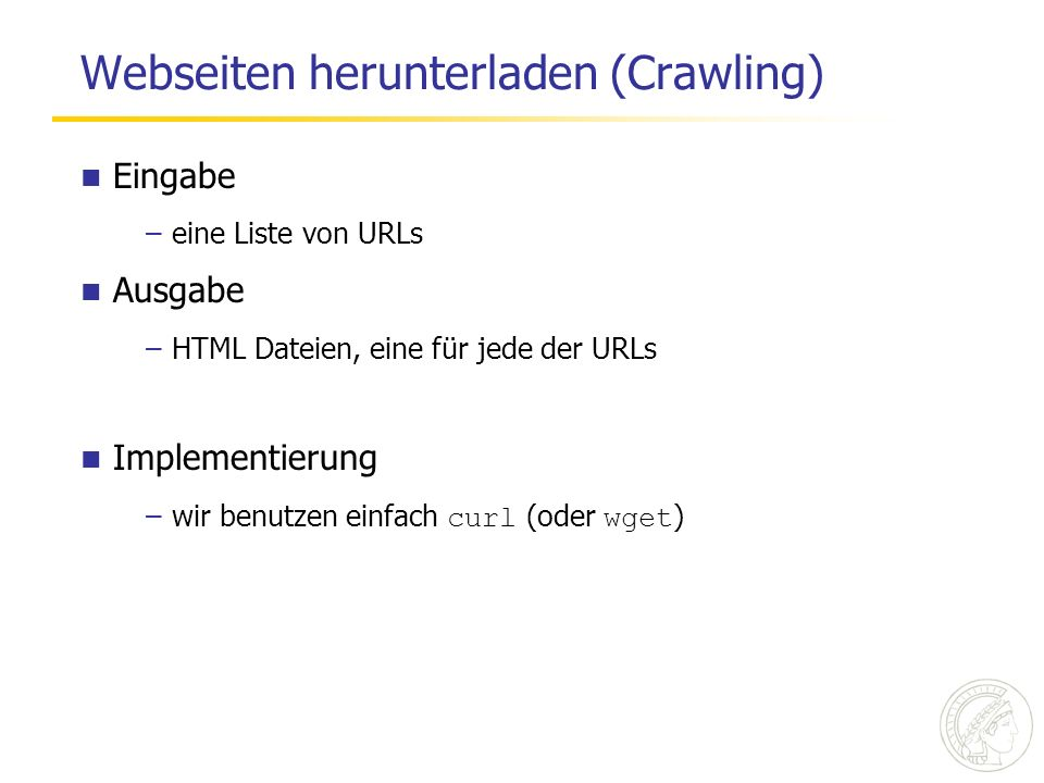 Webseiten herunterladen (Crawling)