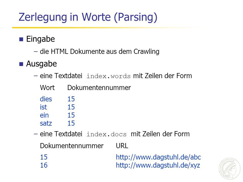 Zerlegung in Worte (Parsing)