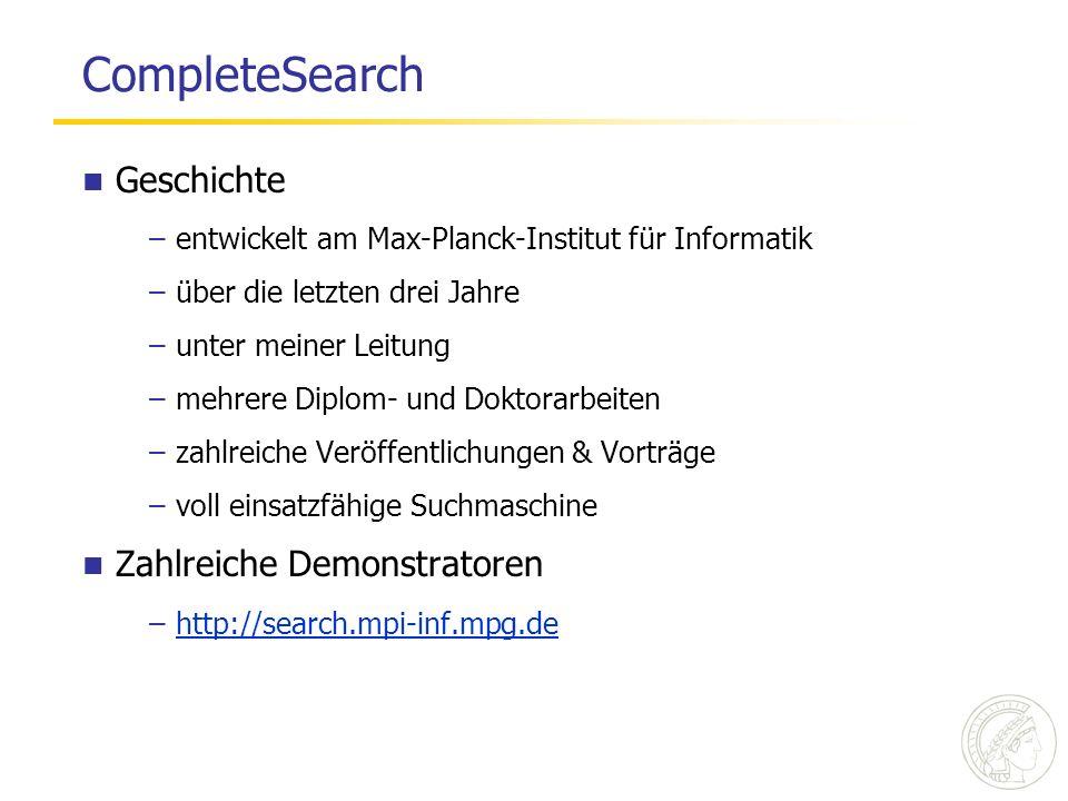 CompleteSearch Geschichte Zahlreiche Demonstratoren