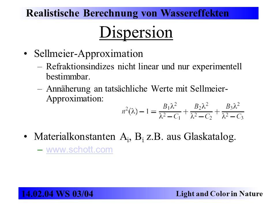 Dispersion Realistische Berechnung von Wassereffekten