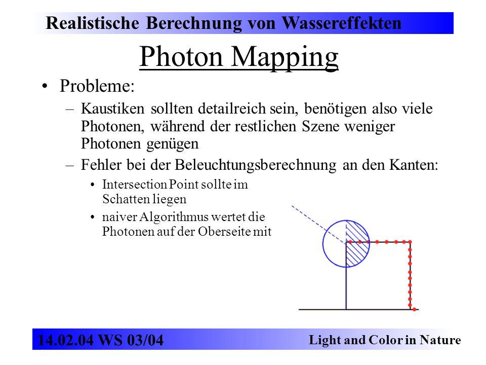 Photon Mapping Realistische Berechnung von Wassereffekten Probleme: