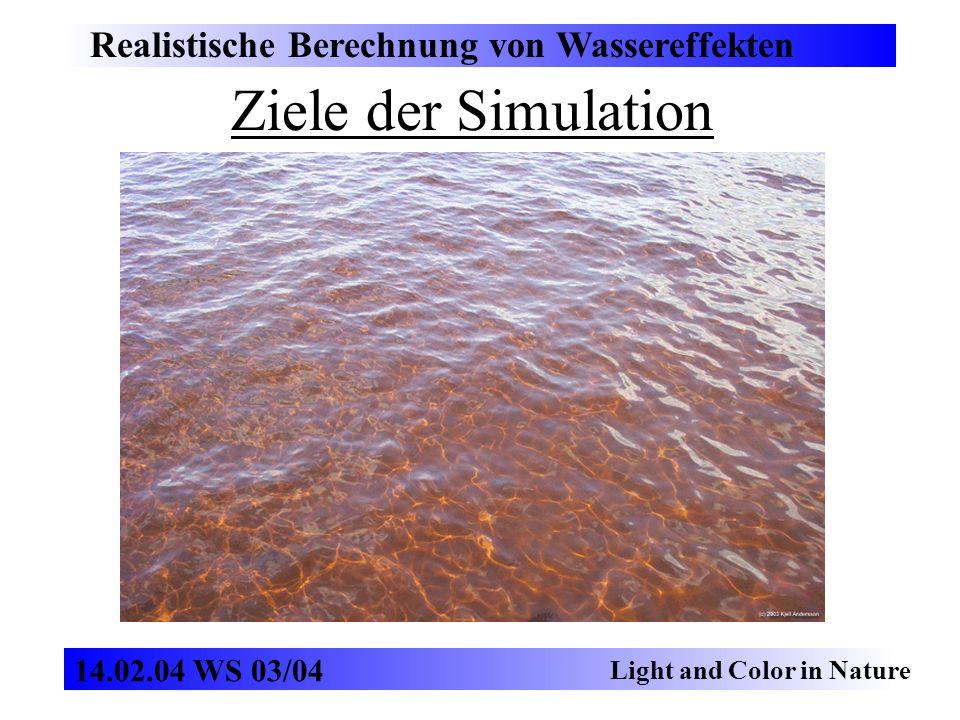 Ziele der Simulation Realistische Berechnung von Wassereffekten