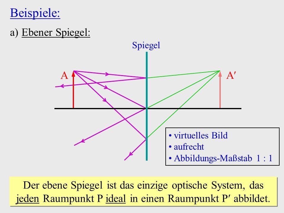 Beispiele: Ebener Spiegel: A A
