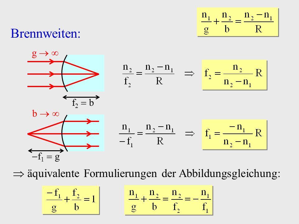 Brennweiten:  äquivalente Formulierungen der Abbildungsgleichung: