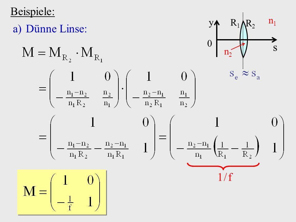 Beispiele: s y R2 R1 n1 n2 Dünne Linse: 1 / f