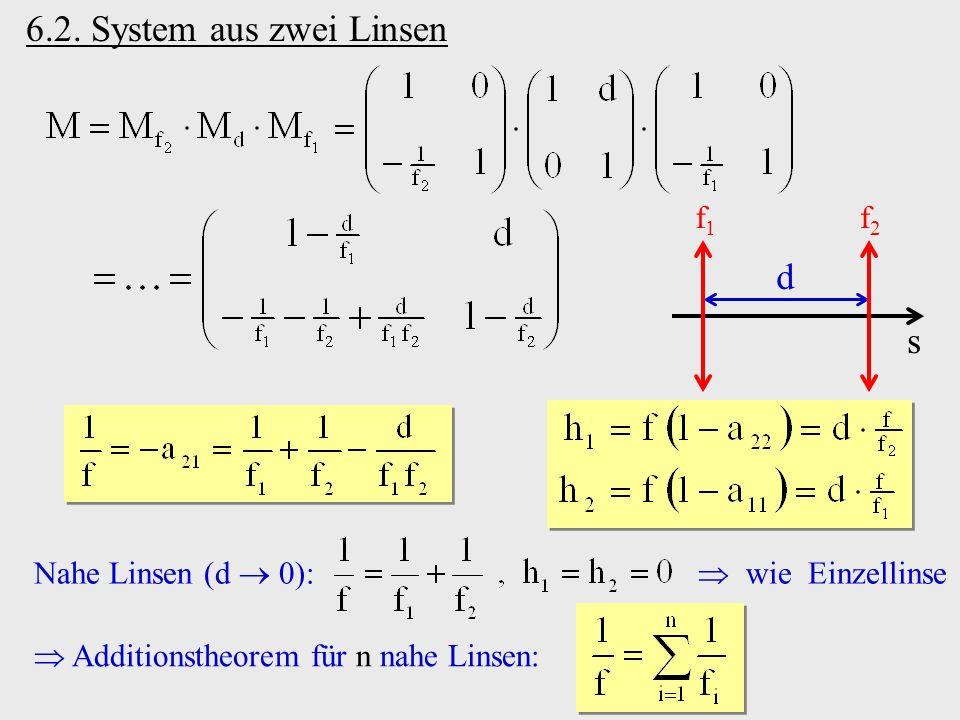 6.2. System aus zwei Linsen d s f1 f2