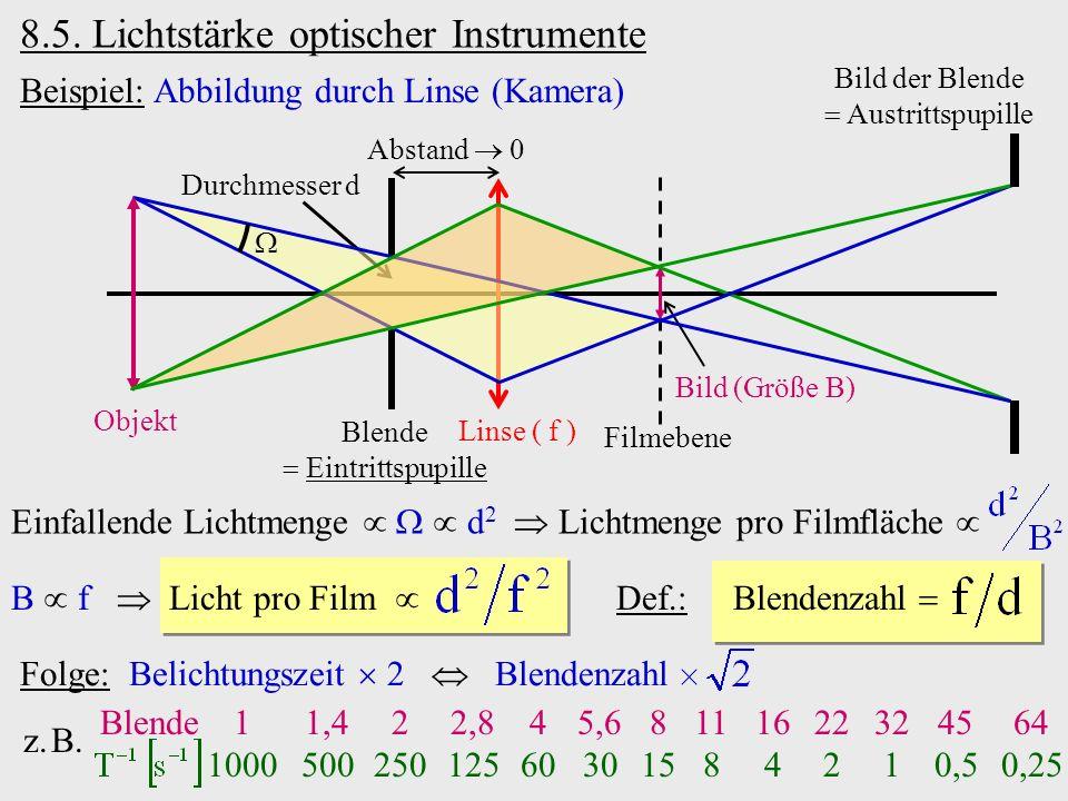 8.5. Lichtstärke optischer Instrumente