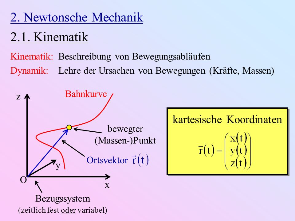 2. Newtonsche Mechanik 2.1. Kinematik kartesische Koordinaten