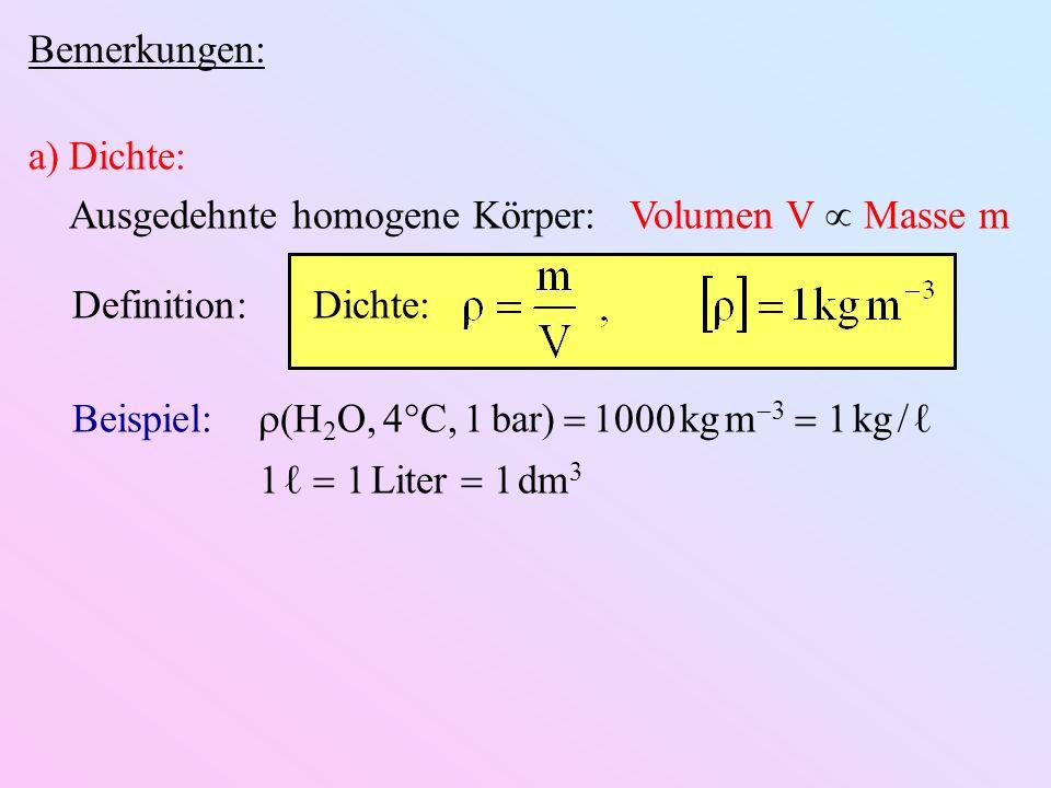 Bemerkungen: Dichte: Ausgedehnte homogene Körper: Volumen V  Masse m. Definition: Dichte: