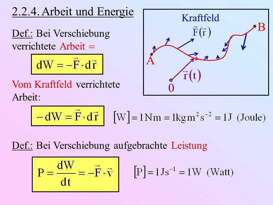 2.2.4. Arbeit und Energie B A Kraftfeld