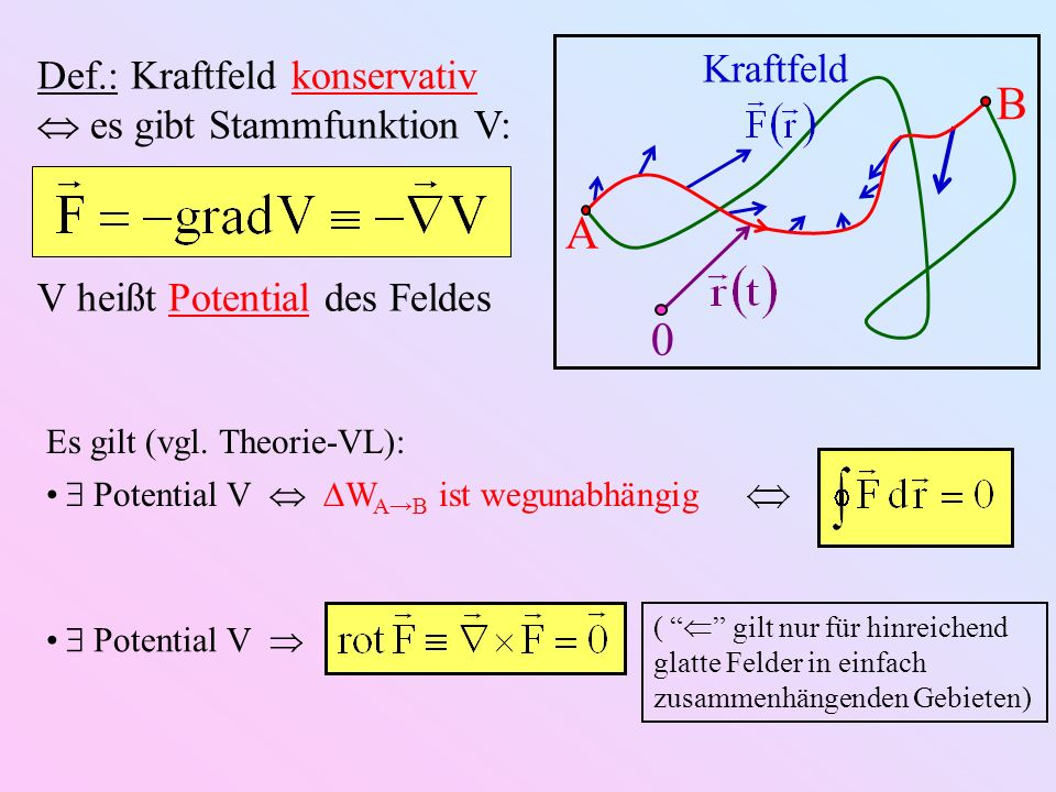 B A Kraftfeld Def.: Kraftfeld konservativ  es gibt Stammfunktion V: