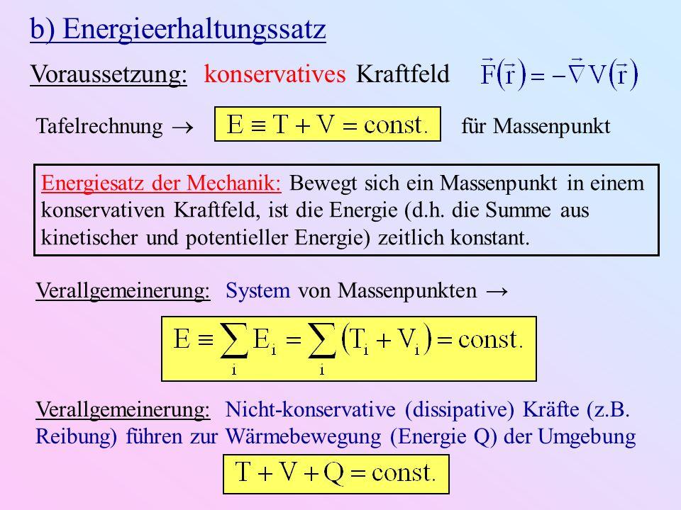 b) Energieerhaltungssatz